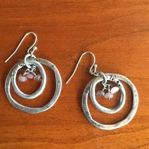 Coldwater Creek Earrings ~ Silver with Pink Stones